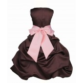 Brown/Peach Satin Pick-Up Bubble Flower Girl Dress Occasions 806S