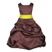 Brown/Lemon Satin Pick-Up Bubble Flower Girl Dress Occasions 806S