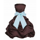 Brown/Mint Satin Pick-Up Bubble Flower Girl Dress Occasions 806S