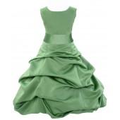 Clover Green/Apple Green Satin Pick-Up Bubble Flower Girl Dress 806S