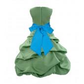 Clover Green/Malibu Satin Pick-Up Bubble Flower Girl Dress 806S