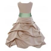 Champagne/Apple Green Satin Pick-Up Bubble Flower Girl Dress Princess 806S