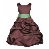 Brown/Apple Green Satin Pick-Up Bubble Flower Girl Dress Occasions 806S