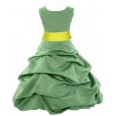 Clover Green/Lemon Satin Pick-Up Bubble Flower Girl Dress 806S