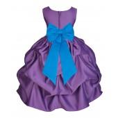 Purple/Malibu Satin Pick-Up Flower Girl Dress Princess 208T
