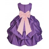 Purple/Peach Satin Pick-Up Flower Girl Dress Princess 208T