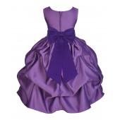 Purple/Cadbury Satin Pick-Up Flower Girl Dress Princess 208T