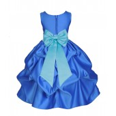 Royal Blue/Spa Satin Pick-Up Flower Girl Dress Dance 208T