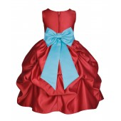 Apple Red/Spa Satin Pick-Up Flower Girl Dress Holiday 208T