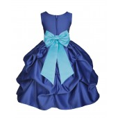 Navy Blue/Spa Satin Pick-Up Flower Girl Dress Pageant 208T
