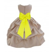 Champagne/Lemon Satin Pick-Up Flower Girl Dress Party 208T