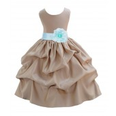 Champagne/Mint Satin Pick-Up Flower Girl Dress Party 208T