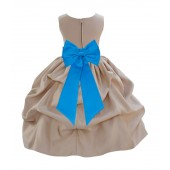 Champagne/Malibu Satin Pick-Up Flower Girl Dress Party 208T