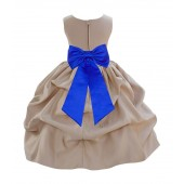 Champagne/Horizon Satin Pick-Up Flower Girl Dress Party 208T