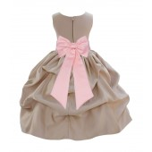 Champagne/Peach Satin Pick-Up Flower Girl Dress Party 208T