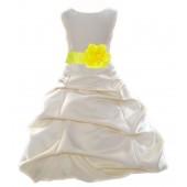 Ivory/Lemon Satin Pick-Up Bubble Flower Girl Dress Bridesmaid 808T