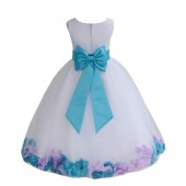 White/Turquoise-Lilac Tulle Mixed Rose Petals Flower Girl Dress 302T