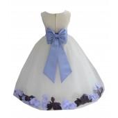 Ivory/Bluebird-Plum Tulle Mixed Rose Petals Flower Girl Dress 302T