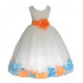 Ivory/Orange-Turquoise Tulle Mixed Rose Petals Flower Girl Dress 302T