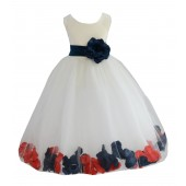 Ivory/Peacock-Persimmon Tulle Mixed Rose Petals Flower Girl Dress 302T