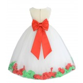 Ivory/Persimmon-Lime Tulle Mixed Rose Petals Flower Girl Dress 302T