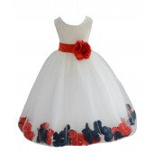 Ivory/Persimmon-Peacock Tulle Mixed Rose Petals Flower Girl Dress 302T
