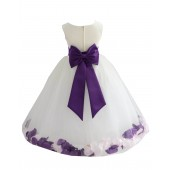 Ivory/Purple-Pink Tulle Mixed Rose Petals Flower Girl Dress 302T
