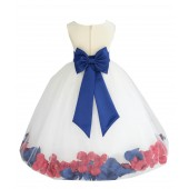 Ivory/Royal Blue-Watermelon Tulle Mixed Rose Petals Flower Girl Dress 302T