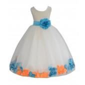 Ivory/Turquoise-Orange Tulle Mixed Rose Petals Flower Girl Dress 302T