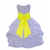 White/Lemon Satin Pick-Up Flower Girl Dress Wedding 208T