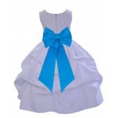 White/Malibu Satin Pick-Up Flower Girl Dress Wedding 208T