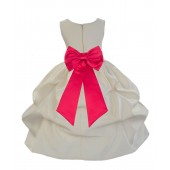 Ivory/Cherry Satin Pick-Up Flower Girl Dress Bridesmaid 208T
