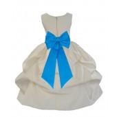 Ivory/Malibu Satin Pick-Up Flower Girl Dress Bridesmaid 208T