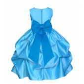Turquoise/Malibu Satin Pick-Up Flower Girl Dress Receptions 208T