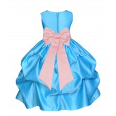 Turquoise/Peach Satin Pick-Up Flower Girl Dress Receptions 208T