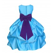 Turquoise/Cadbury Satin Pick-Up Flower Girl Dress Receptions 208T