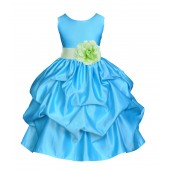 Turquoise/Apple Green Satin Pick-Up Flower Girl Dress Receptions 208T