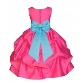 Fuchsia/Spa Satin Pick-Up Flower Girl Dress Recital 208T