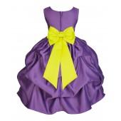 Purple/Lemon Satin Pick-Up Flower Girl Dress Princess 208T