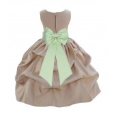 Champagne/Apple Green Satin Pick-Up Flower Girl Dress Party 208T