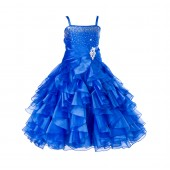 Royal Blue Rhinestone Organza Layers Flower Girl Dress Elegant Stunning 164S