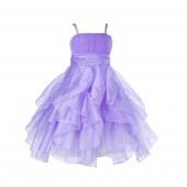 Lilac Ruffled Bodice Spaghetti Strap Organza Flower Girl Dress 151S