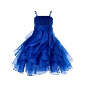Navy Blue Ruffled Bodice Spaghetti Strap Organza Flower Girl Dress 151S