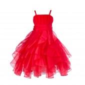 Red Ruffled Bodice Spaghetti Strap Organza Flower Girl Dress 151S