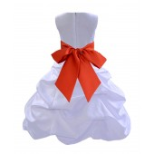 White/Persimmon Satin Pick-Up Bubble Flower Girl Dress Wedding 806S