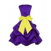 Cadbury Regency/Lemon Satin Pick-Up Bubble Flower Girl Dress 806S