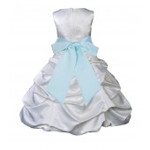 White/Mint Satin Pick-Up Bubble Flower Girl Dress V2 806S