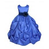 Royal Blue/Navy Satin Taffeta Pick-Up Bubble Flower Girl Dress 301S