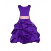 Cadbury Regency/Peach Satin Pick-Up Bubble Flower Girl Dress 806S