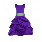 Cadbury Regency/Apple Green Satin Pick-Up Bubble Flower Girl Dress 806S